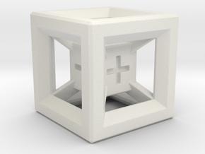 Fudge Dice Hypercube 1.5cm (D3) in White Natural Versatile Plastic