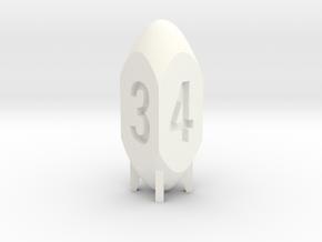 Missile Dice in White Processed Versatile Plastic: d4