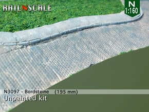 Bordsteine (N 1:160) in White Natural Versatile Plastic