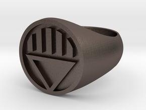 Black Lantern Ring (US Size 12.5) in Polished Bronzed Silver Steel