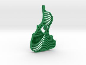 3D Printed Bi Circle Keychain in Green Processed Versatile Plastic