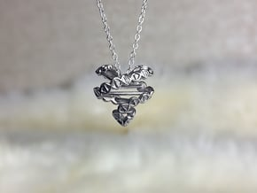DNA Heart Pendant in Polished Silver