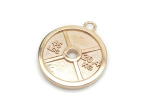 45 lb Weight Plate Pendant in Polished Bronze