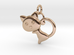Cat Pendant in 14k Rose Gold Plated Brass