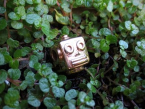 Reversible retro robot head pendant in 14k Rose Gold Plated Brass
