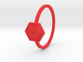 Anello Esagono in Red Processed Versatile Plastic