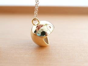 Mini Pac-Man in 14k Gold Plated Brass