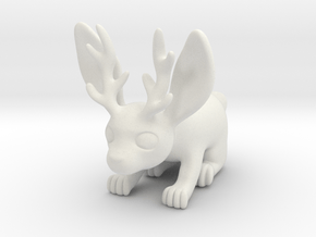 Little Jackalope Figure in White Natural Versatile Plastic
