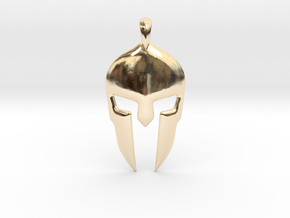 Spartan Helmet Jewelry Pendant in 14K Yellow Gold