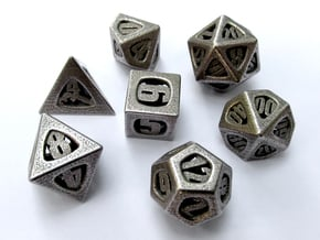 Thoroughly Modern Dice Set with Decader in Polished Bronzed Silver Steel