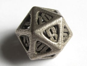 Thoroughly Modern d20 in Polished Bronzed Silver Steel