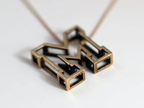 Small Letter M Pendant in Natural Bronze