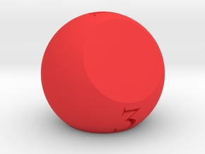 3 Sided Dice in Red Processed Versatile Plastic