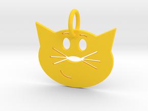 Smug Cat Keychain in Yellow Processed Versatile Plastic