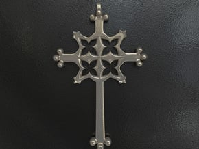 Gothic Cross Small in Polished Bronzed Silver Steel