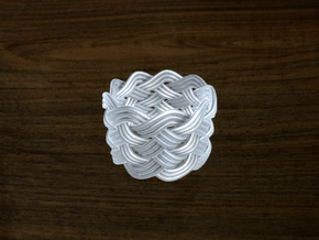 Turk's Head Knot Ring 6 Part X 9 Bight - Size 7.5 in White Natural Versatile Plastic