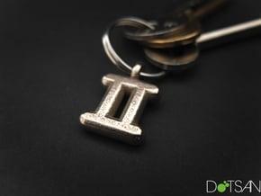 Gemini Symbol Keychain in Polished Bronzed Silver Steel