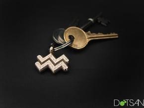 Aquarius Symbol Keychain in Polished Bronzed Silver Steel