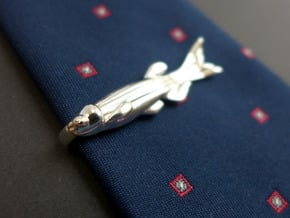 Zebrafish Tie Bar - Science Jewelry in Polished Silver
