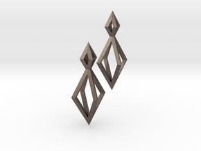Double Diamond Earrings in Polished Bronzed Silver Steel