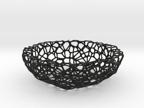 Fruit bowl (22 cm) - Voronoi-Style #1  in Black Natural Versatile Plastic