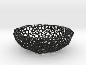 Bowl (19 cm) - Voronoi-Style #5 in Black Natural Versatile Plastic