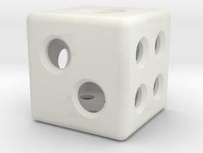 Loaded Hollow Dice (D6) (1.5cm) in White Natural Versatile Plastic