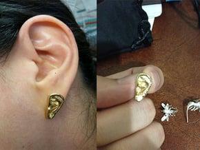 Ear Stud Earrings in Natural Brass