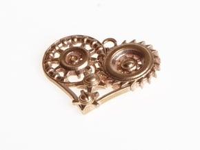 Mech Heart Pendant in Natural Bronze