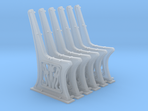 GWR Bench ends x 6 O Scale 7mm in Smooth Fine Detail Plastic