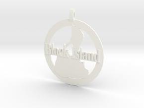 3D Printed Block Island Coin in White Processed Versatile Plastic