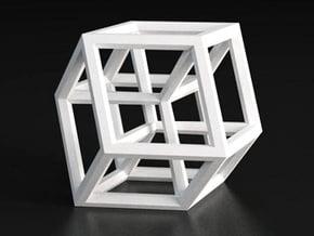 Hypercube B in White Processed Versatile Plastic