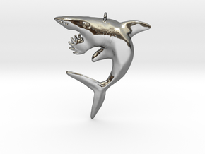 Helicoprion Pendant in Fine Detail Polished Silver
