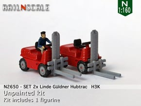 SET 2x Linde Güldner Hubtrac H3K (N 1:160) in Smooth Fine Detail Plastic