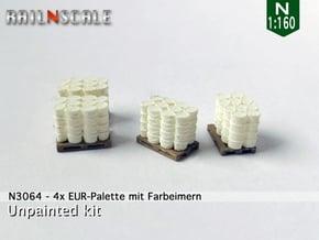 4x EUR-Palette mit Farbeimern (N 1:160) in Smooth Fine Detail Plastic