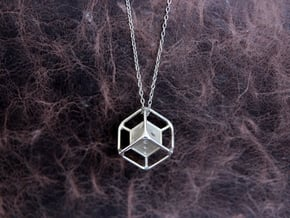d6 Dice Pendant in Polished Silver