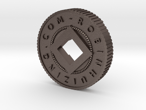RH Basement Level Coin 3.1 in Polished Bronzed Silver Steel