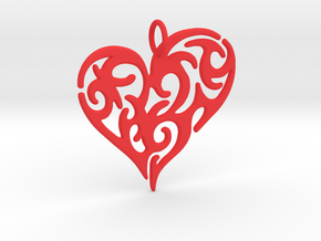 Tribal Heart Pendant in Red Processed Versatile Plastic