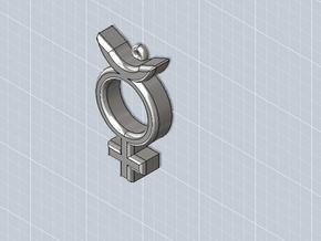 """Mercury Charm/Pendant - 1.4"""" in White Natural Versatile Plastic"""