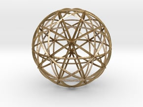 Icosahedron symmetry circles 16 in Polished Gold Steel