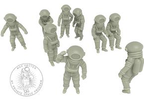 Vintage Moon Astronauts Set / 1:48 in White Natural Versatile Plastic