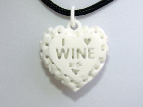 Heart Pendant I Love Wine in White Natural Versatile Plastic
