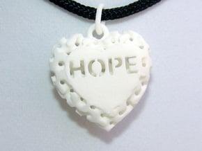 Heart Pendant Lattice Hope in White Natural Versatile Plastic