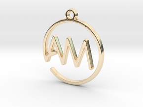 A & M Monogram Pendant in 14k Gold Plated Brass