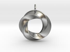 Mobius Pendant in Natural Silver