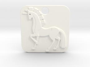 Unicorn Pendant in White Processed Versatile Plastic
