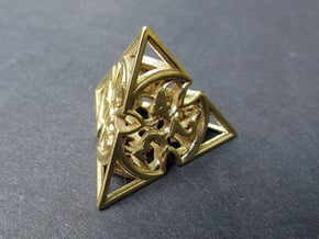 Gothic Rosette d4 in Natural Brass
