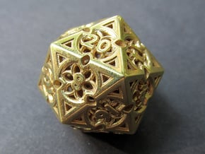 Gothic Rosette d20 in Natural Brass