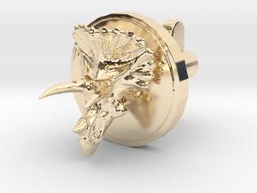 Triceratops Head Cufflink in 14k Gold Plated Brass