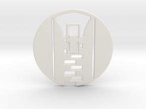 Zipper Pull No.1 Keychain in White Natural Versatile Plastic